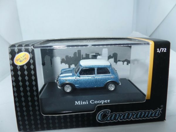 Cararama 7-80060 1/72 Scale Leyland Mini Cooper Light Blue White Roof & Stripes